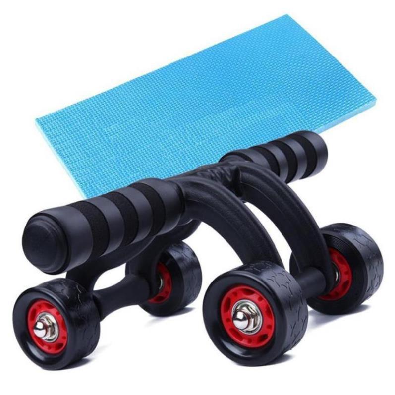 Con lăn tập bụng 4 bánh cao cấp, có miếng chặn , Máy tập cơ bụng con lăng bánh xe tập thể dục nam nữ
