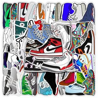 Set 50 nhãn dán chống nước hình giày thể thao trang trí thủ công