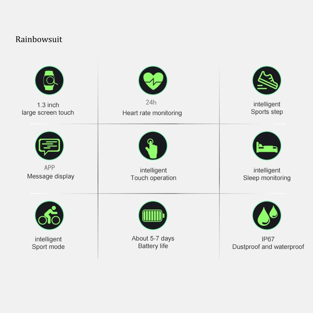 Bộ Vòng Tay Thể Thao Thông Minh Màn Hình 1.3 Inch Đo Nhịp Tim Cho Android Ios