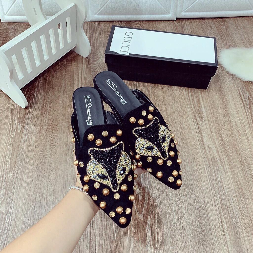 Giày sục hồ ly đính hạt