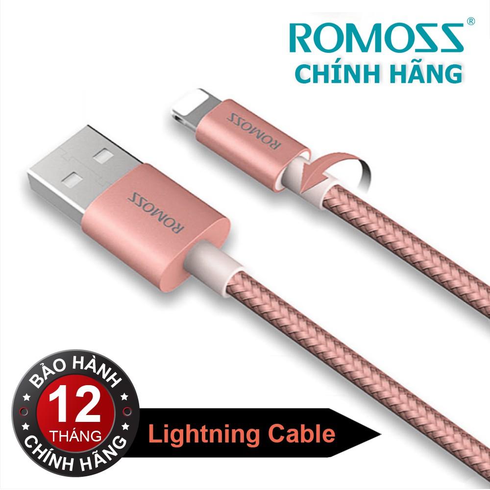 Cáp sạc iPhone/iPad Romoss Lightning Cable bọc Nylon (Hồng 1M) - Hãng phân phối chính thức