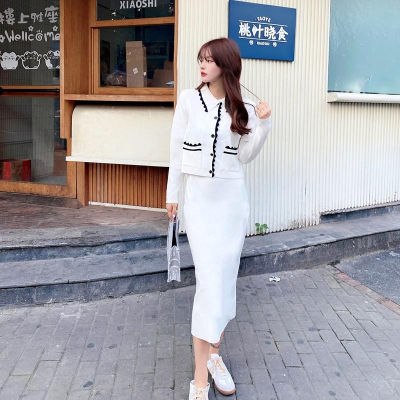 Set Áo Khoác Cardigan Và Chân Váy Len Thời Trang Thanh Lịch Cho Nữ   Shopee  Việt Nam