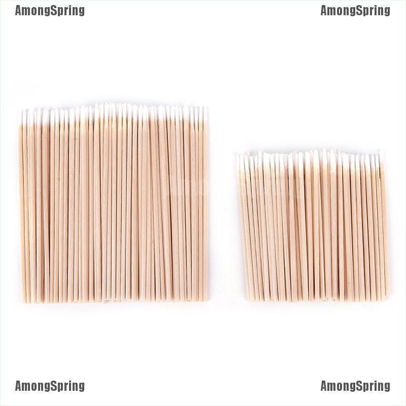 Amongspring❥ 100X Permanent Tattoo Makeup Microblading Wood Cotton Swab Bud Cosmetics Stick