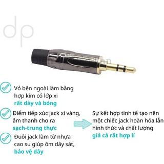 ( Xi Vàng Cao cấp ) Jack 3.5, Jack 3.5mm Xám Bóng Đuôi Đen