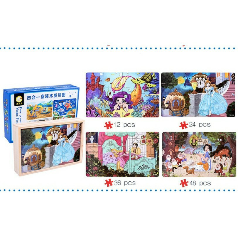 [Giá Rẻ ] Ghép Hình Puzzle Tổng hợp 04 tranh 12 – 24 – 36 – 48 mảnh hộp gỗ