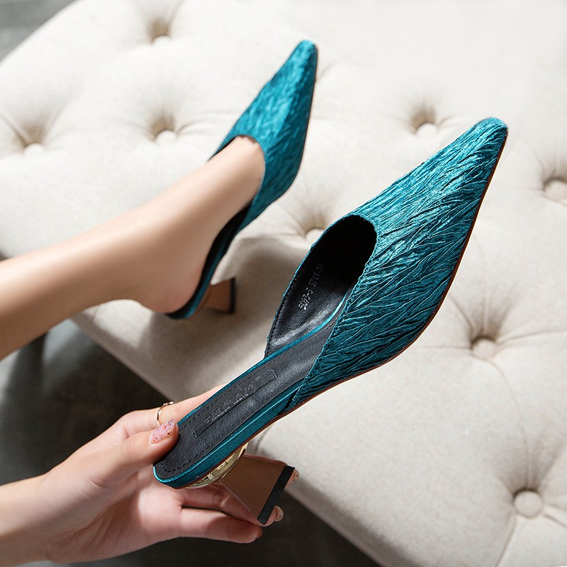 Pointed high-heeled Muller shoes pleated satin half slippers wood grain thick with sandals with ladies shoes OL