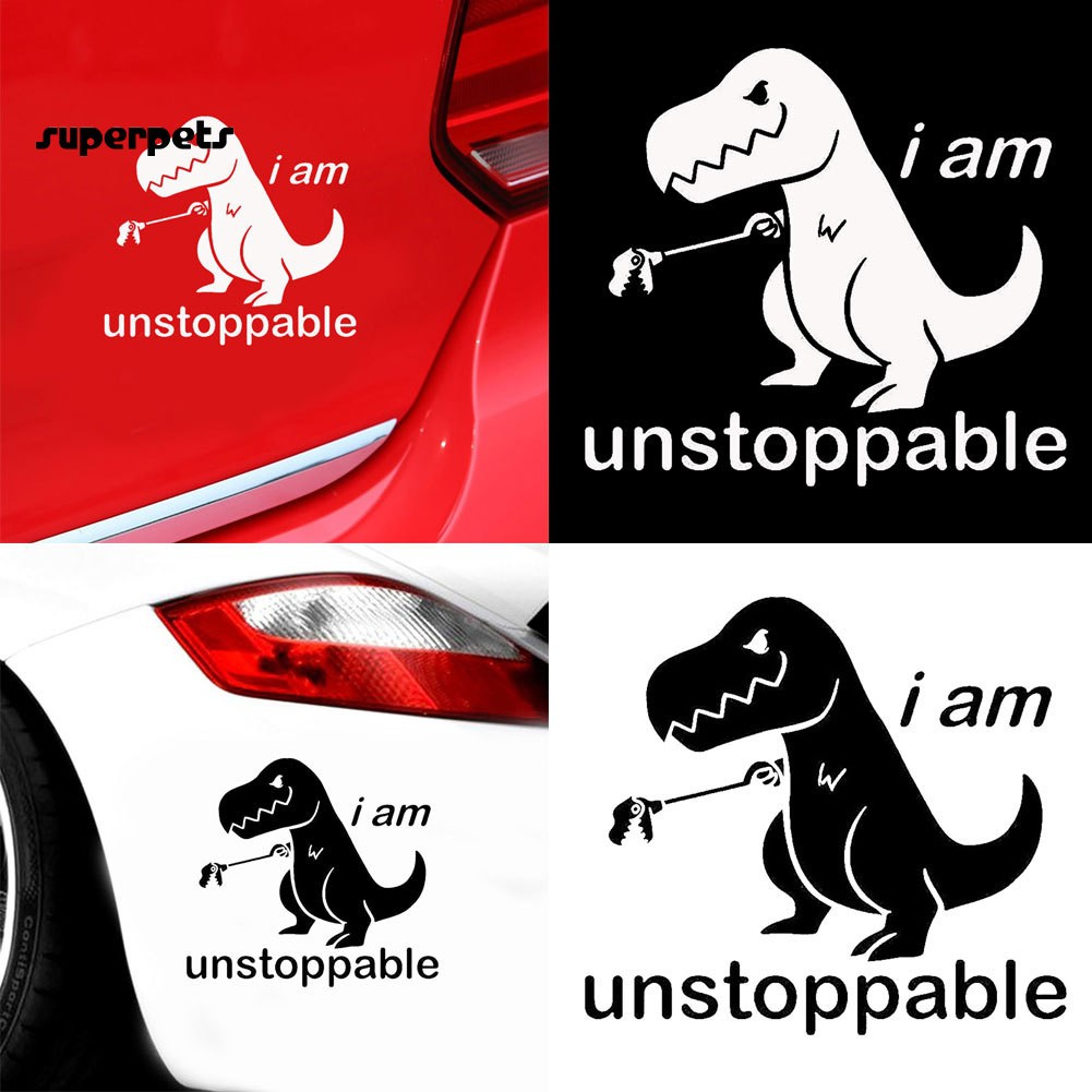 super_Funny Letters Dinosaur Car Vehicle Body Window Reflective Decals Sticker Decor