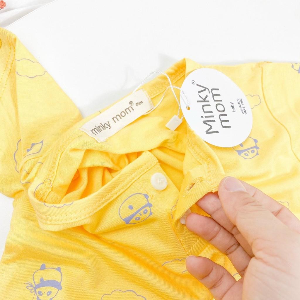 Bộ Cộc Tay Thun Lạnh Minky Mom Cổ Trụ Nền Màu In Họa Tiết Siêu Dễ Thương Cho Bé Unchi Store (QATE321)