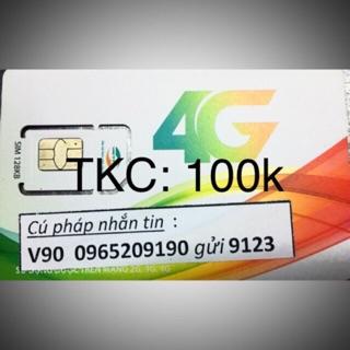 Sim V90 11 số phôi sim 4G(3in1) số lấy ngẫu nhiên. tk: 100k và tk: 0đ