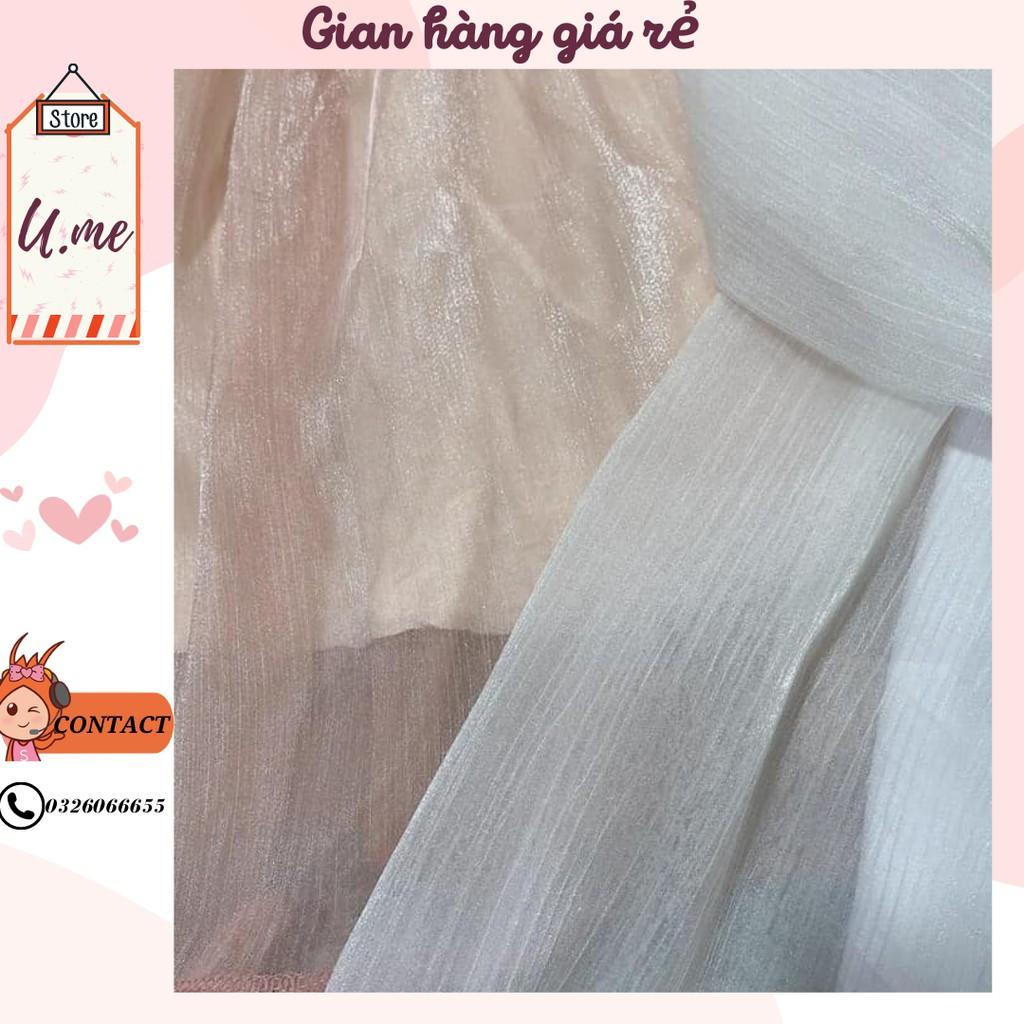 Mặc gì đẹp: Xinh xinh với [VIDEO] Áo Váy trễ vai voan nàng thơ óng ánh 2 màu kim tuyến bánh bèo Váy dự tiệc đi chơi