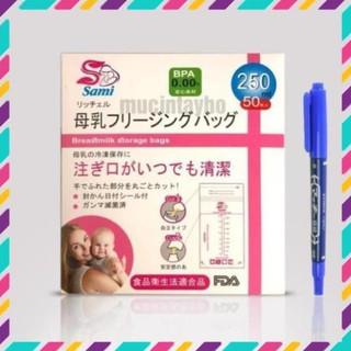[Tặng 1 bút ghi chú] Túi trữ sữa Sami Nhật Bản 250ml – 50 túi