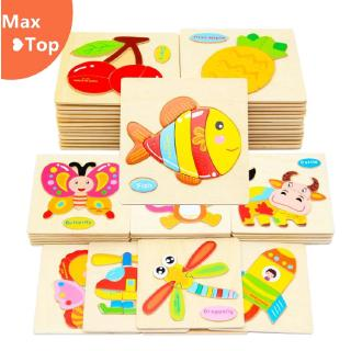 [cod] Wood Cartoon Puzzles Toys Kids 3D Animal Kids Early Educational Toys