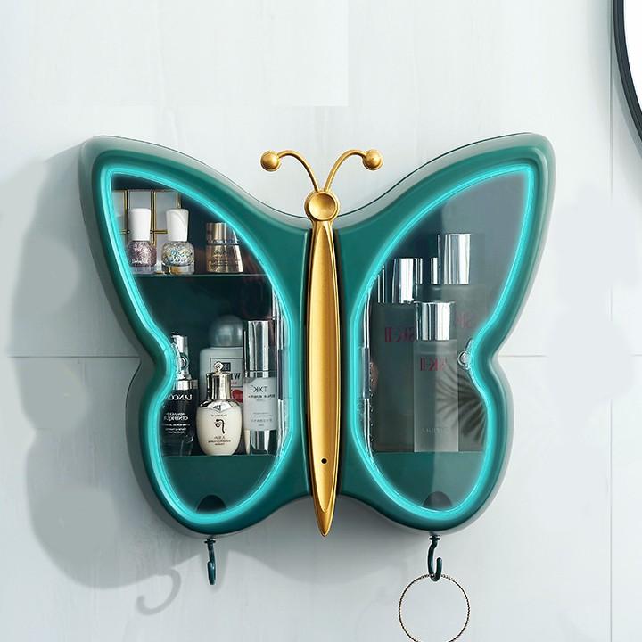 Kệ nhà tắm đựng mỹ phẩm treo tường hình con bướm màu xanh - Tủ đựng mỹ phẩm nhà tắm dán tường kiêm móc treo