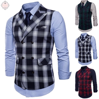 Waistcoat Double-Breasted Plaid Party Button Retro Men's Vintage Formal Casual Business Sleeveless Slim Office