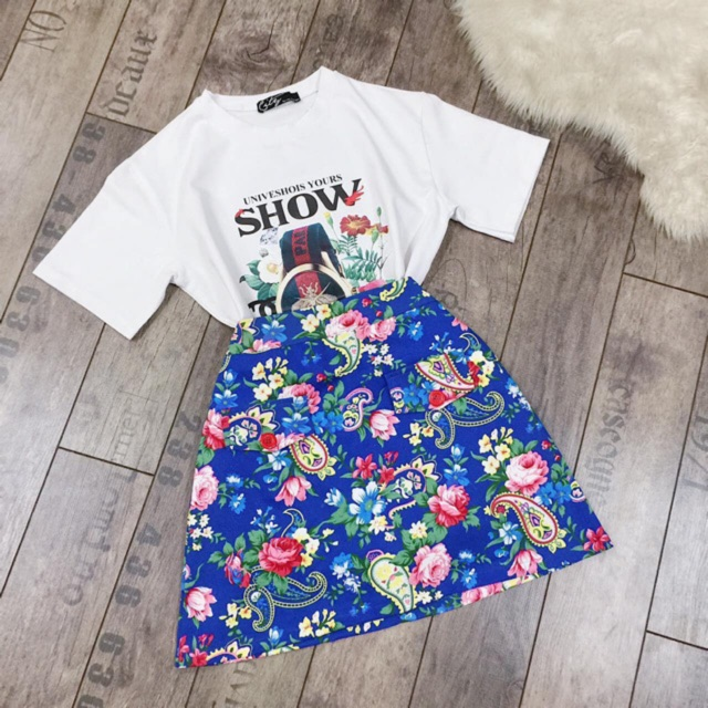 1353366958 - Set chân váy hoa hoa nhí vintage và áo thun