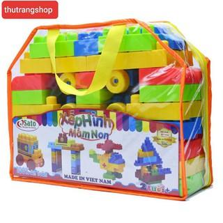 Xếp hình mầm non 72 chi tiết đồ chơi nhựa an toàn sato chính hãng