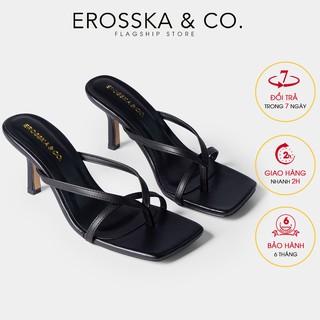 Dép cao gót Erosska mũi vuông xỏ ngón phối dây gót nhọn cao 7cm màu đen _ EM060