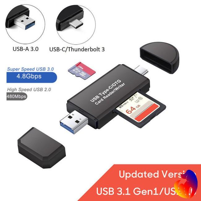 Đầu đọc thẻ nhớ 3 trong 1 USB 3.0 Type C TF SD cho Macbook Android