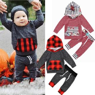 ✿ℛInfant Toddler Baby Boys Kids Girls Plaid Fashion Warm Hooded Shirts Pants 2Pcs Outfits Clothes