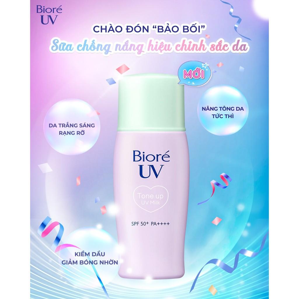 Sữa chống nắng hiệu chỉnh sắc da Biore UV Tone Up Milk SPF50+/PA++++ 30ml |  Shopee Việt Nam