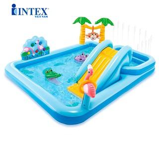 [Mã TOYDEC giảm 10% tối đa 15K đơn từ 50K] Bể bơi phao cầu trượt có vòi phun mưa INTEX 57161