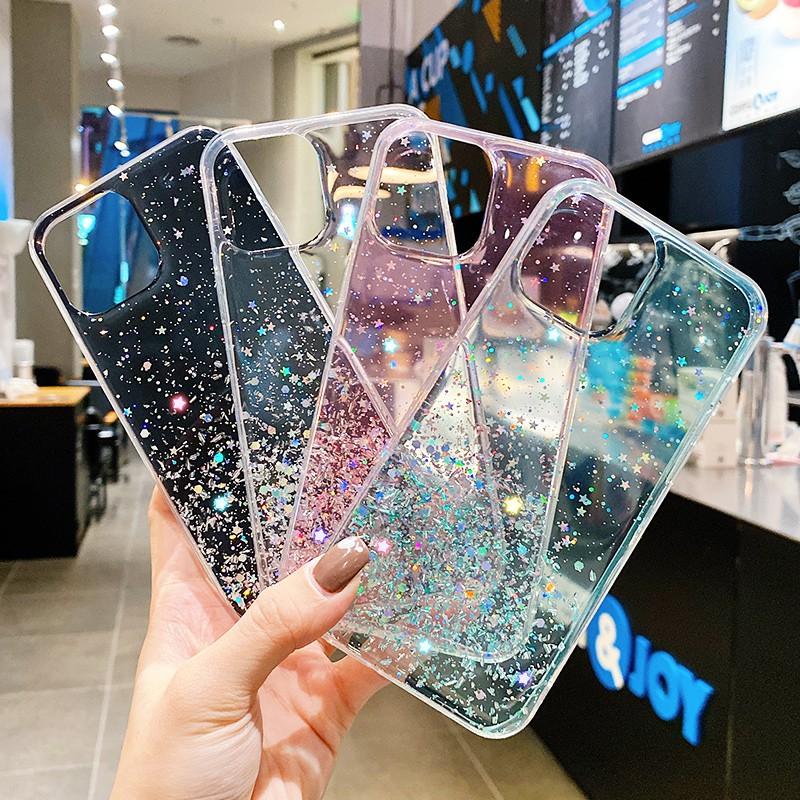 Samsung Galaxy A52 A72 A32 A02 M02 A12 A02S A42 5G A51 A71 A21s Ốp lưng mềm trong suốt thiết kế lấp lánh cho