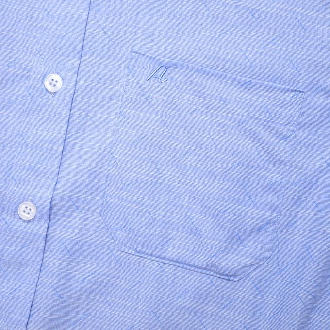 Mặc gì đẹp: Sang trọng với [HÀNG VIỆT NAM] Áo Sơ Mi Nam Thương Hiệu Anton Ngắn Tay Công Sở Trung Niên Vải Sợi Tre Xanh Dương Họa Tiết In GD561