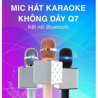 Micro hát karaoke blutooth Q7 dòng 2021, micro bluetooth kèm loa thu âm, bass vang