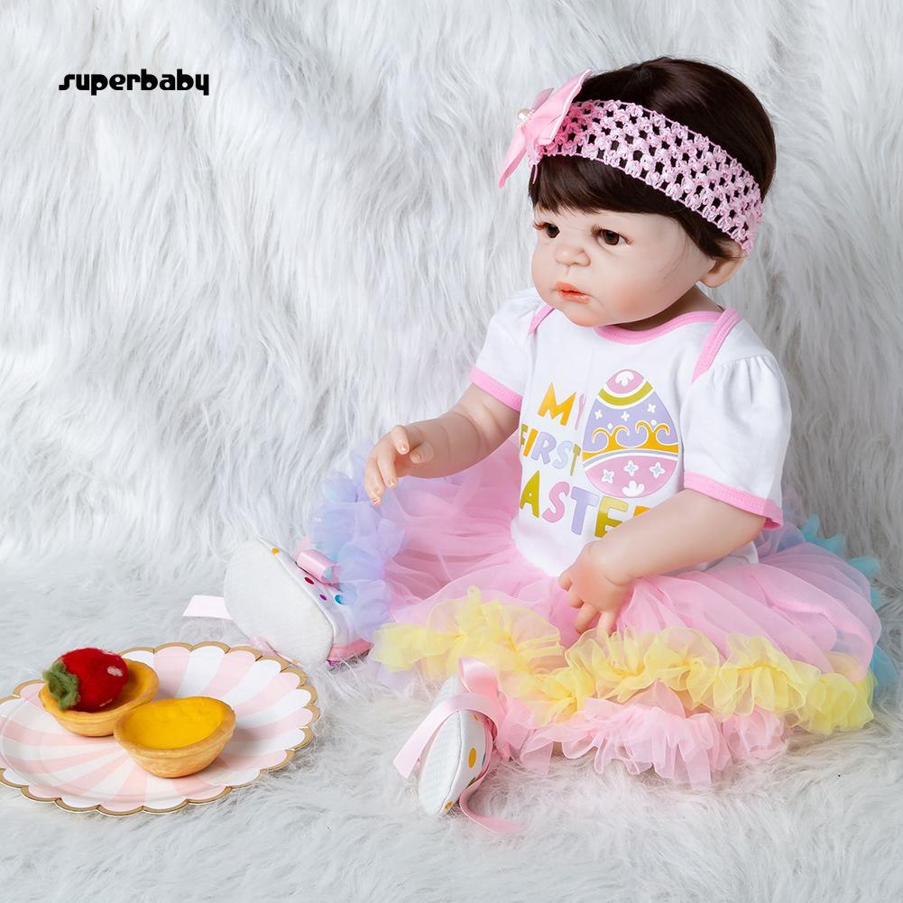 SBaby-4Pcs Lovely Easter Egg Baby Girls Romper Dress Headband Leg Sleeve Shoes Set