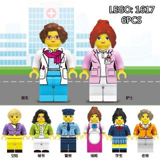 6PCS Minifigures Building Blocks Dolls Doctor Nurse Teacher Occupation SeriesLEGO Compatible Toys
