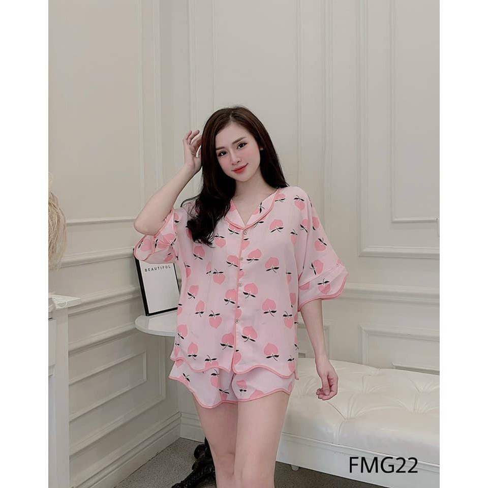 Bộ Ngủ Pyjama Nữ P4U Đùi Cộc Lụa Cao Cấp Freesize Siêu Mát Chất Đẹp