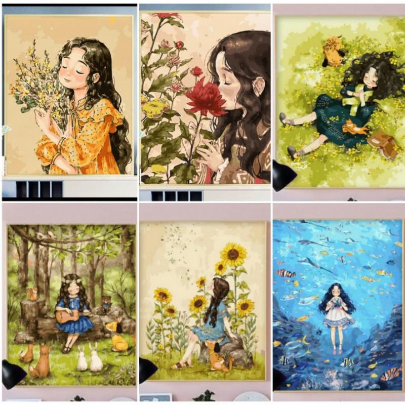 Tranh sơn dầu số hóa DIY khổ 40x50cm khung căng sẵn FOREST GIRLS- ORDER 10  NGÀY   Shopee Việt Nam