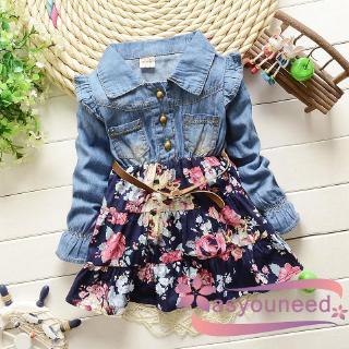 Đầm tay dài họa tiết bông hoa xinh xắn dành cho bé