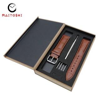 Dây đồng hồ chất liệu da cao bò cao cấp MTS-1700 Full box đầy đủ phụ kiện thay thế Size 22