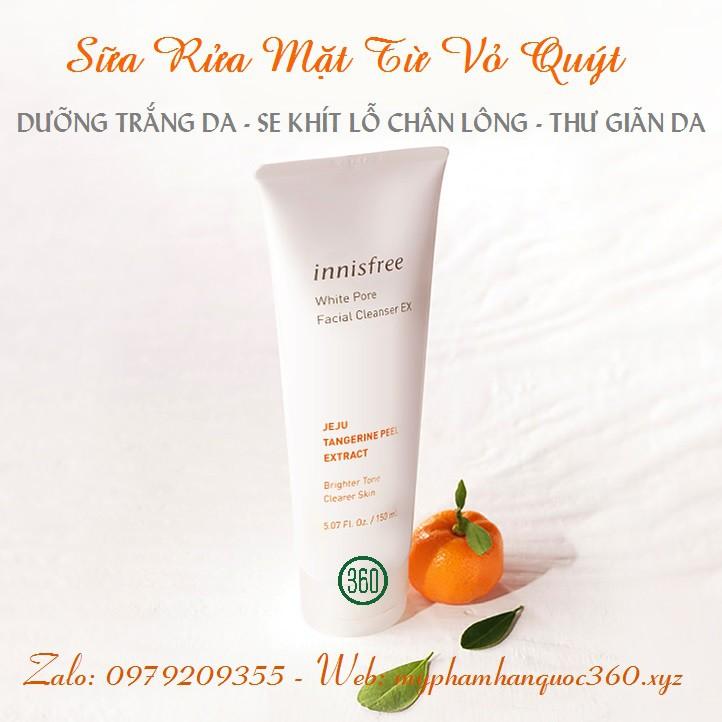 [mẫu 2019] Sữa Rửa Mặt Trắng Da, Se Khít Lỗ Chân Lông Innisfree White Pore Facial Cleanser Ex 150ml