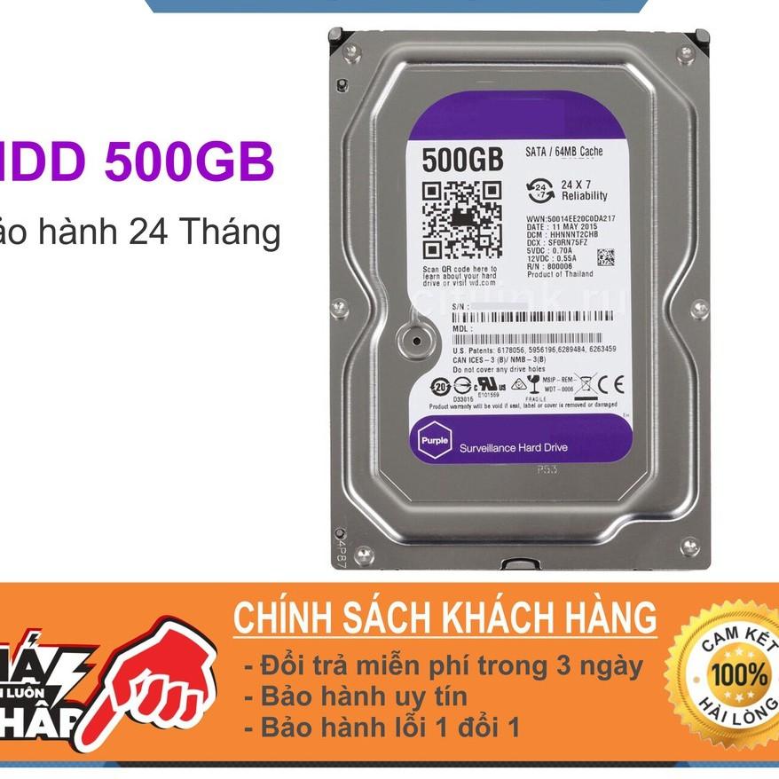 Ổ Cứng HDD 500G Western Purple ( Tím )-Bảo hành 12 Tháng Giá chỉ 280.000₫