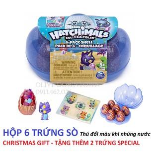 [Xmas] HỘP 6 trứng sò Hatchimals TẶNG 2 trứng – 6 Pack Shell – Thú đổi màu khi nhúng vào nước
