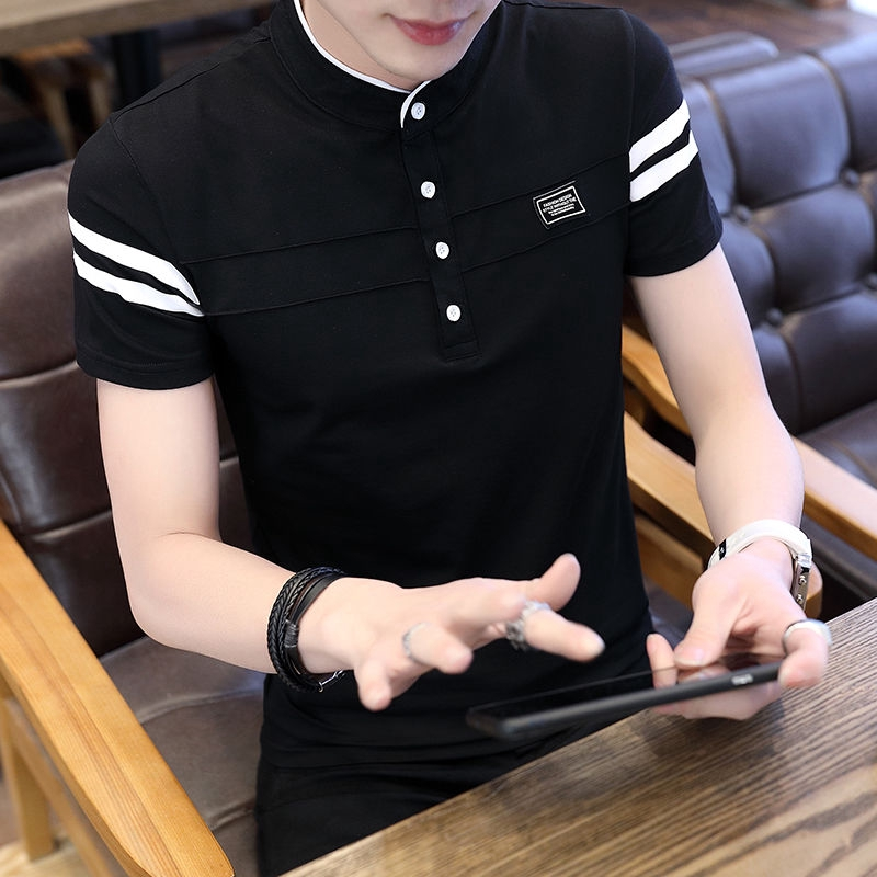 ✧❣✚Men's short-sleeved T-Shirt half-sleeved vertical collar top 2019 Summer new blouse youth lapel POLO shirt