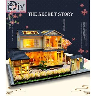 Mô hình nhà búp bê DIY THE SECRET STORY có nội thất & đèn LED (kèm Dụng cụ keo + MICA + NHẠC) – Quà tặng tự làm bằng gỗ