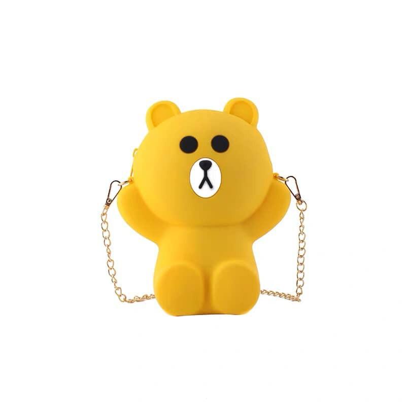 [Mã WBMAX20 giảm Giảm 20% tối đa 20K đơn Bất kỳ] Túi gấu brown đeo chéo silicon siêu hót ( 2 dây)
