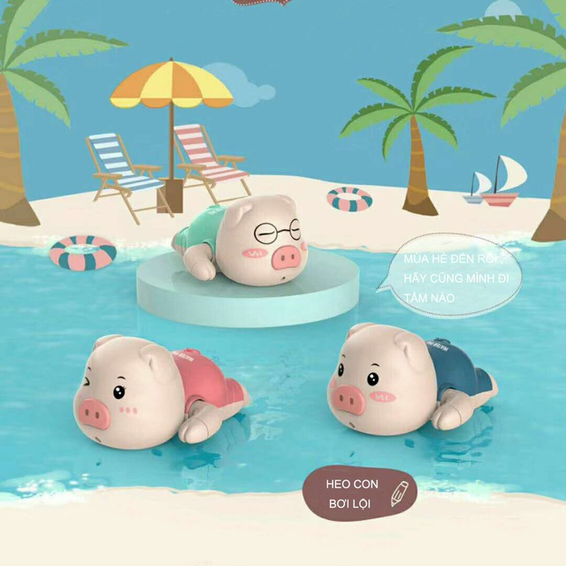 Đồ Chơi Bồn Tắm Vặn Cót Heo Con Bơi Lội Đáng Yêu C