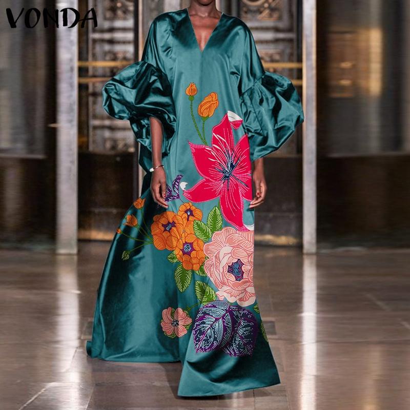 Mặc gì đẹp: Bồng bềnh với Đầm VONDA cổ chữ V tay áo phồng dài 3/4 họa tiết hoa phong cách thông thường thời trang cho nữ