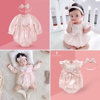 HÀNG CAO CẤP-Body váy công chúa tặng kèm băng đô vải tơ lụa mềm mại cho bé