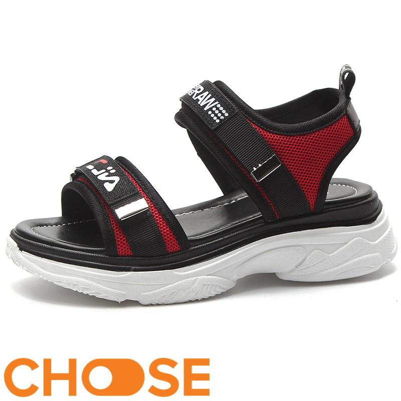 Giày Nữ Sandal hàn quốc Choose Dáng Thể Thao Quai Ngang Dán Tăng Chiều Cao Đế Cao Su⚡G15K4