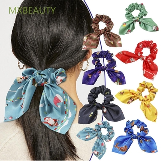 MXBEAUTY Headwear Women Hair Ropes Fashion Ponytail Holder Christmas Rubber Bands Stain Silk New Hair Accessories Elastic Gum Hairbands Hair Ring Bow Scrunchie