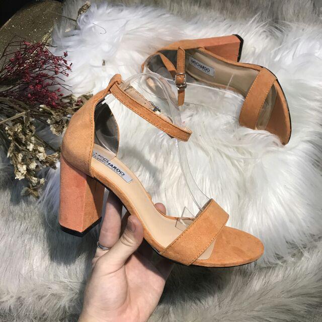 Sandal cao gót 7p cam xinh