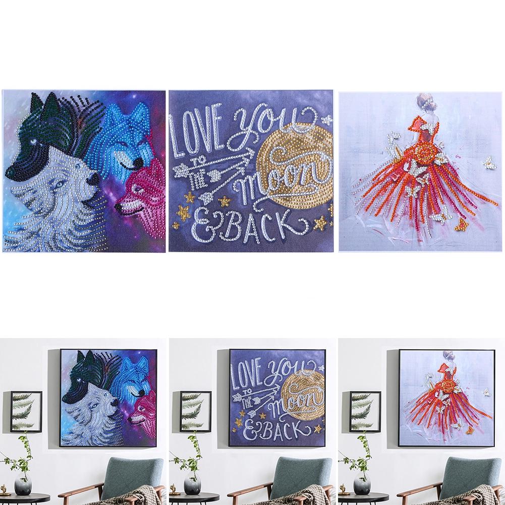 25x25cm Bright Color Frameless Cross Stitch 5D Decorative DIY Embroidery Shining Diamond Painting