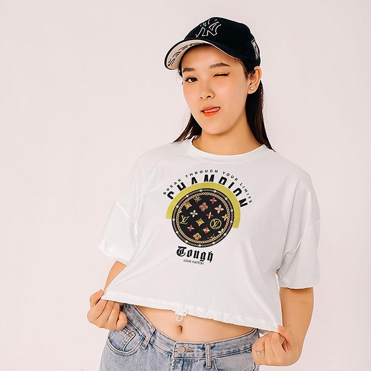 Áo Croptop Tay Lỡ In Hình LC Circle cổ tròn 100% Cotton cao cấp vải dày mịn không xù lông