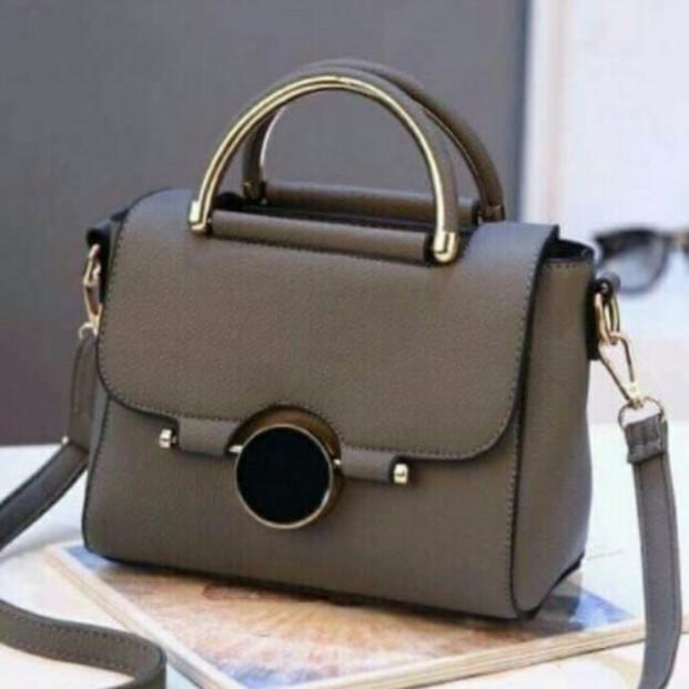 Túi xách nữ cao cấp khóa tròn đen BH 117