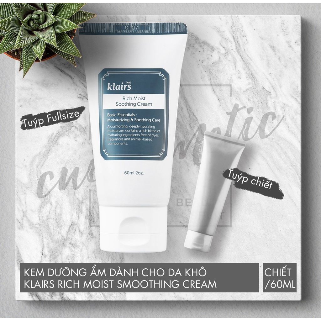 [Chiết/fullsize] Kem Dưỡng ẩm cho da khô KLAIRS Rich moist soothing cream - 2596085 , 389708130 , 322_389708130 , 100000 , Chiet-fullsize-Kem-Duong-am-cho-da-kho-KLAIRS-Rich-moist-soothing-cream-322_389708130 , shopee.vn , [Chiết/fullsize] Kem Dưỡng ẩm cho da khô KLAIRS Rich moist soothing cream